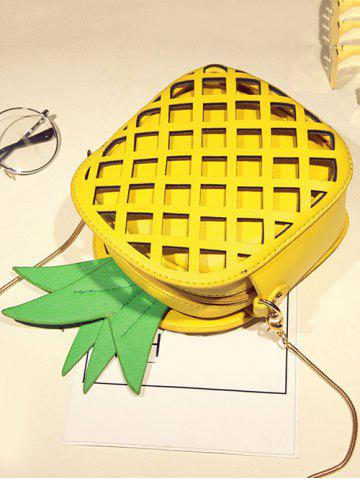 New Hollow Out Pineapple Shaped Crossbody Bag - YELLOW  Mobile