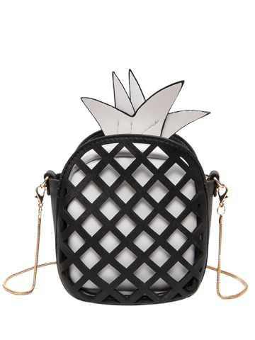 Store Hollow Out Pineapple Shaped Crossbody Bag BLACK