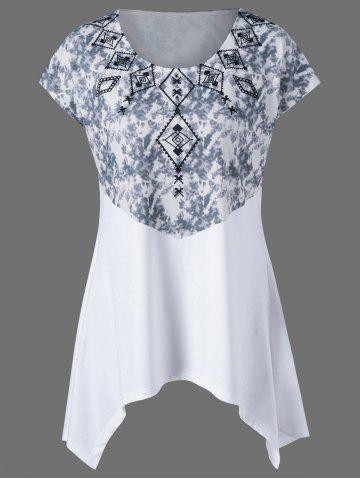 Discount Plus Size Tie Dye Printed Swing T-Shirt WHITE 4XL