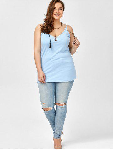 Best Plus Size Caged Cami Tank Top - 2XL ICE BLUE Mobile
