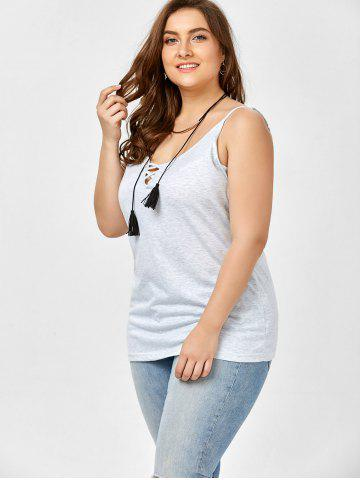 Affordable Plus Size Caged Cami Tank Top - 5XL SMOKY GRAY Mobile