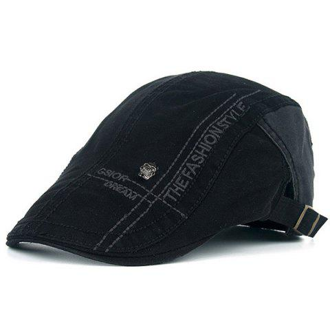 Chic Skull and Embroidery Embellished Jeff Cap - BLACK  Mobile