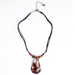 Coloured Glaze Water Drop Pendant Necklace