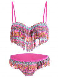 Push Up Fringe Printed Bikini