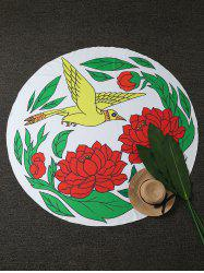 Bird Peony Print Round Beach Throw