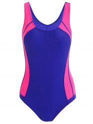 Color Block Sports One Piece Swimsuit