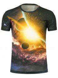 Crew Neck 3D Planet Print Galaxy T-Shirt