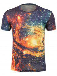Crew Neck 3D Galaxy Print Trippy T-Shirt