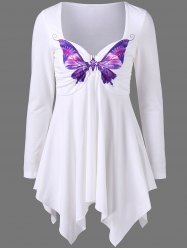 Long Sleeve Butterfly Print Empire Waist Asymmetrical T-Shirt - WHITE M