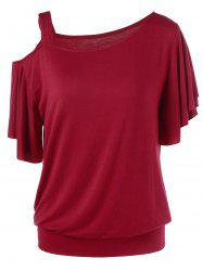Skew Collar Drape Sleeve T-Shirt