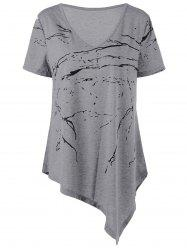 V Neck Asymmetrical Plus Size T-Shirt