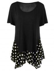 Polka Dot Hem Plus Size Long T-Shirt