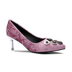 Velvet Pointed Toe Rhinestones Pumps