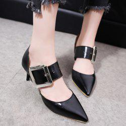 Buckle Strap PU Leather Pumps - BLACK