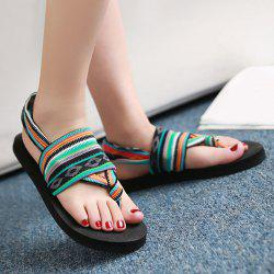 Color Stripe Flat Heel Sandals