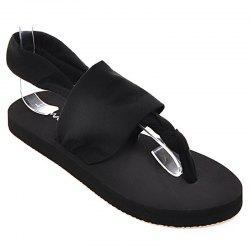 Flat Heel Cloth Sandals - BLACK