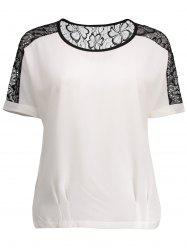 Cuffed Sleeve Lace Insert Blouse