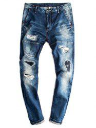 Destroyed Tapered Straight Leg Jeans