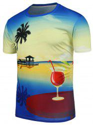 Hawaiian Style Crew Neck T-Shirt - Multicolore 4XL
