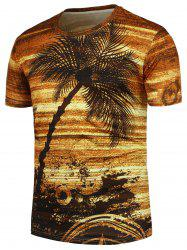 Coconut Palm Pattern Crew Neck T-Shirt