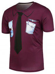 3D Tie and Pocket Printed T-Shirt