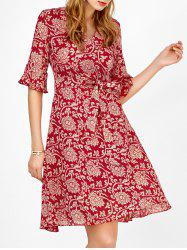 Self Tie Floral Print Bell Sleeve Surplice Dress