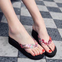 Flower Print Wedge Heel Slippers - BLACK