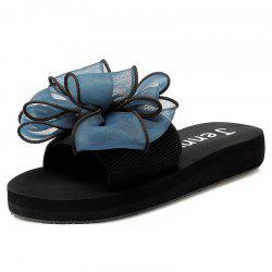 Stretch Fabric Bowknot Slippers - CERULEAN