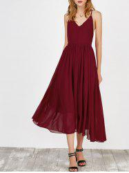 Plunging Neck Backless Self Tie Maxi Dress