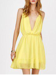 Mini Plunging V Neck Chiffon Club A Line Dress - YELLOW