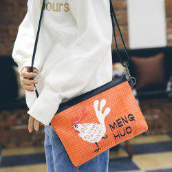 Cartoon Chicken Print Clutch Bag with Wristlet