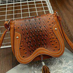 Tassel Detail Embossed Crossbody Bag