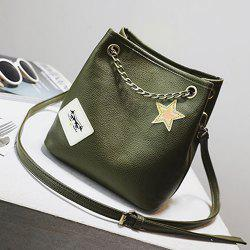 Star Patch Chains Detail Crossbody Bag