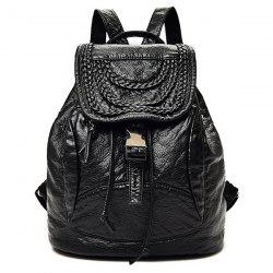Casual Faux Leather Braided Backpack