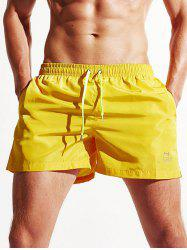 Pocket Drawstring Swimming Trunks - YELLOW