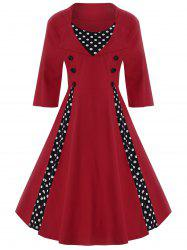 A Line Polka Dot Plus Size Dress