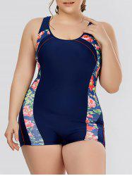 Plus Size Flower Padded One Piece Swimsuit
