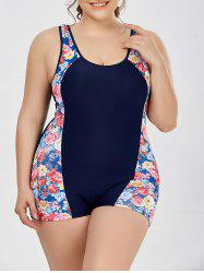 Plus Size Floral Padded Boyshort Bathing Suits