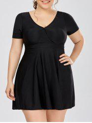 Plus Size Padded Vintage Skirted Swimsuit