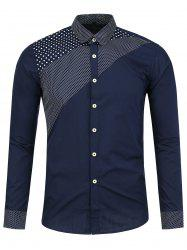 Polka Dot Panel Long Sleeve Shirt