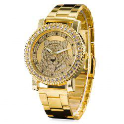 Metallic Strap Rhinestone Tiger Head Watch