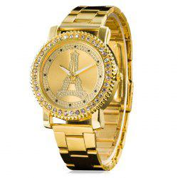 Metallic Strap Rhinestone Eiffel Tower Watch - GOLDEN