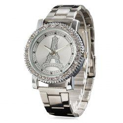 Metallic Strap Rhinestone Eiffel Tower Watch - SILVER