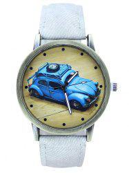 Faux Leather Car Pattern Analog Watch