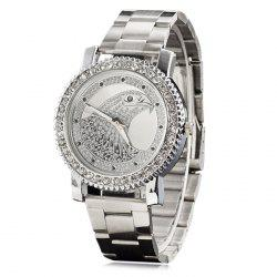 Metallic Strap Rhinestone Eagle Head Watch