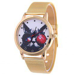 Mesh Alloy Band Cartoon Cat Analog Watch