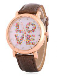 Fuax Leather Rhinestone Floral Love Watch