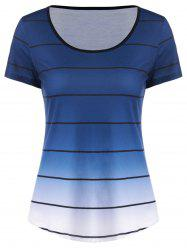 Striped Ombre Curved T-Shirt