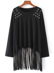 Fringe Long Sleeve Plus Size Top