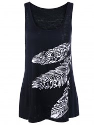 Feather Print Tank Top - BLACK